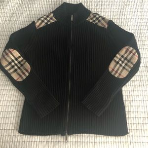 Burberry Black Cardigan Sweater Zipper Novacheck